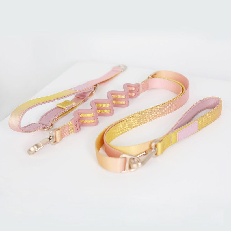 Pet dog traction set multi-function traction rope + zero pressure collar yellow powder gradient