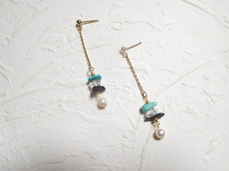 Bag 14K gold pearl earrings irregular gemstone Dangle