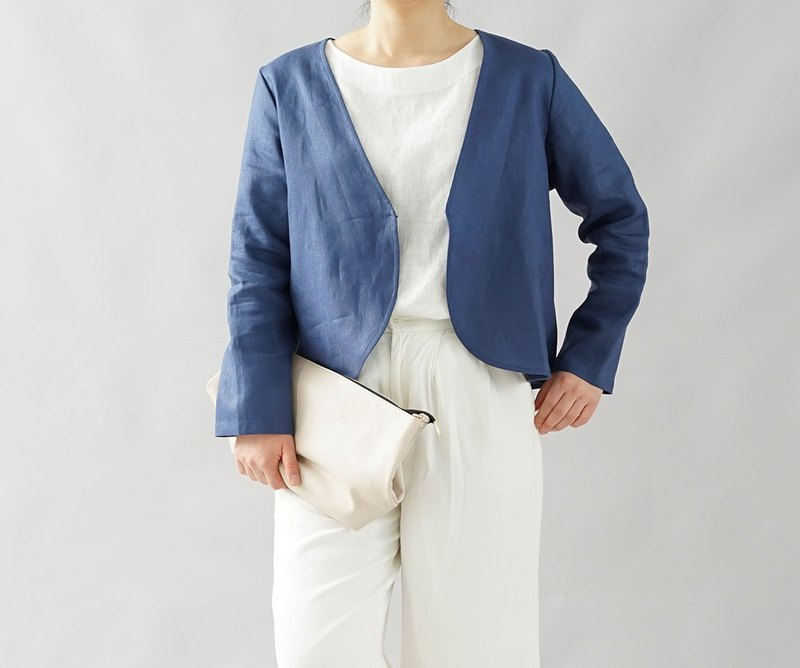 wafu  Linen cardigan / bolero / long sleeve / outerwear / blue b1-4