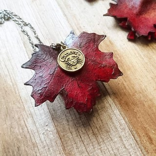 Valentine's Day [12 constellations] maple leaf leather necklace