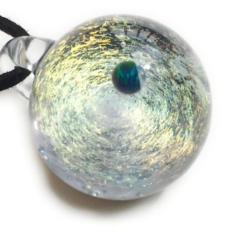 The world of gold glass and the universe. ver2 Glass pendant with green opal Space universe