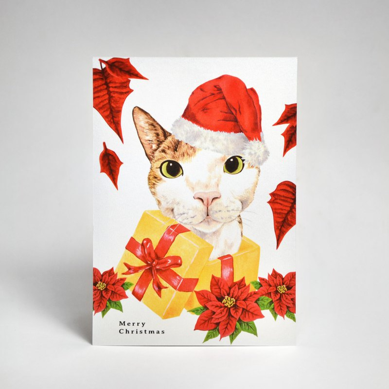 Christmas illustration postcard-Christmas cat