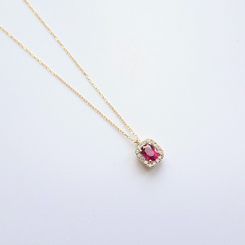 Natural Ruby Oval Shaped Halo Diamonds 18K Solid Gold Dainty Necklace