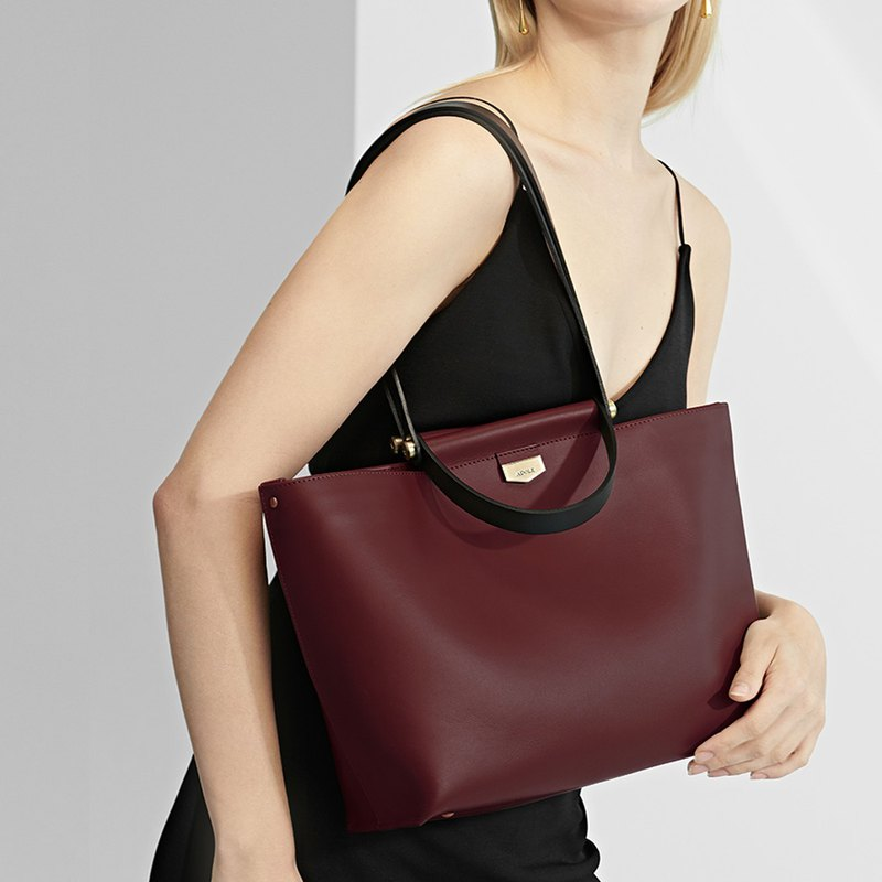 SIMONE leather color selection tote bag / burgundy (free custom lettering)