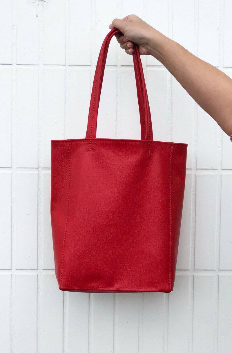 Plain soft leather bag (hand / shoulder dual) - red