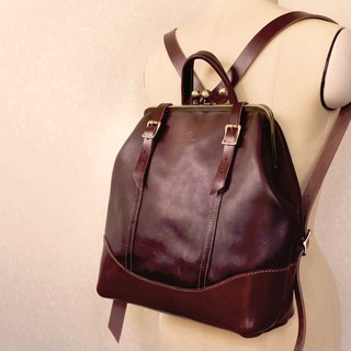 Tochigi leather made hamakuguchi Nume leather backpack ruotare M Bitter Brown