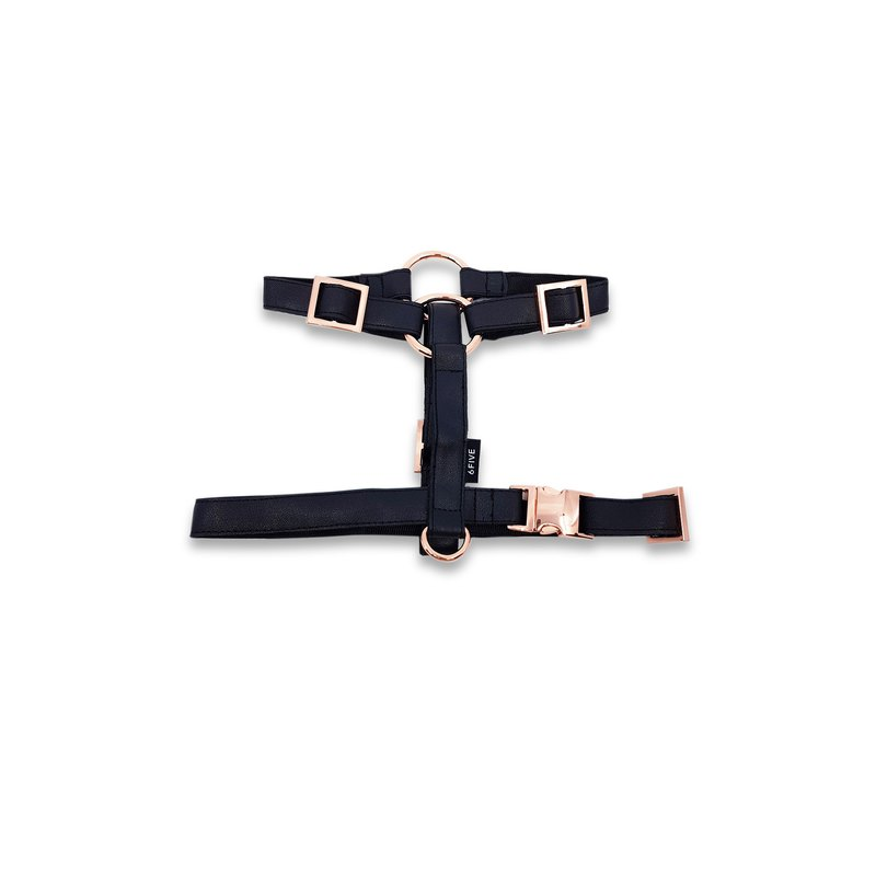 Classic Black Dog and Cat Harness with Rose Gold Hardware