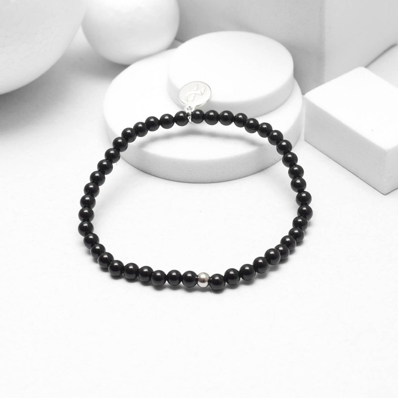 Recovery glossy 4MM beaded bracelet (black agate)