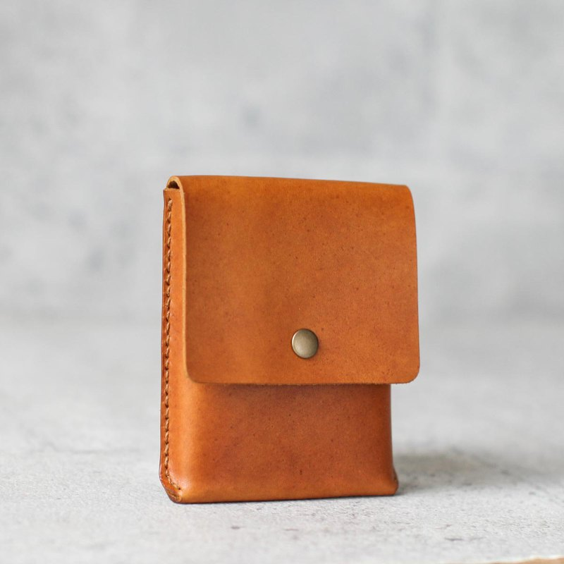 veg-tanned leather business card case wallet