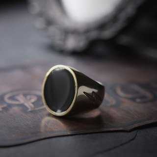 Simple Round Black Ring with Lightning Etching - Original design and made by Defy - Handmade Brass Jewelry
