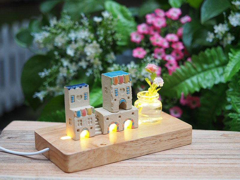 Handmade Ceramic House with Lighting, Set of 6