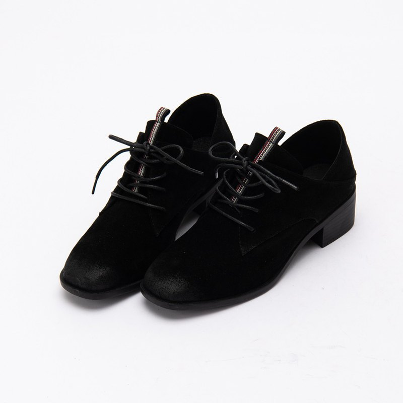 [City tab] full leather side V mouth scoring middle heel shoes _ Paris night (22)