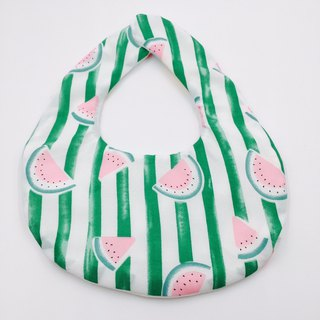 Cool watermelon green striped bib double yarn saliva towel design