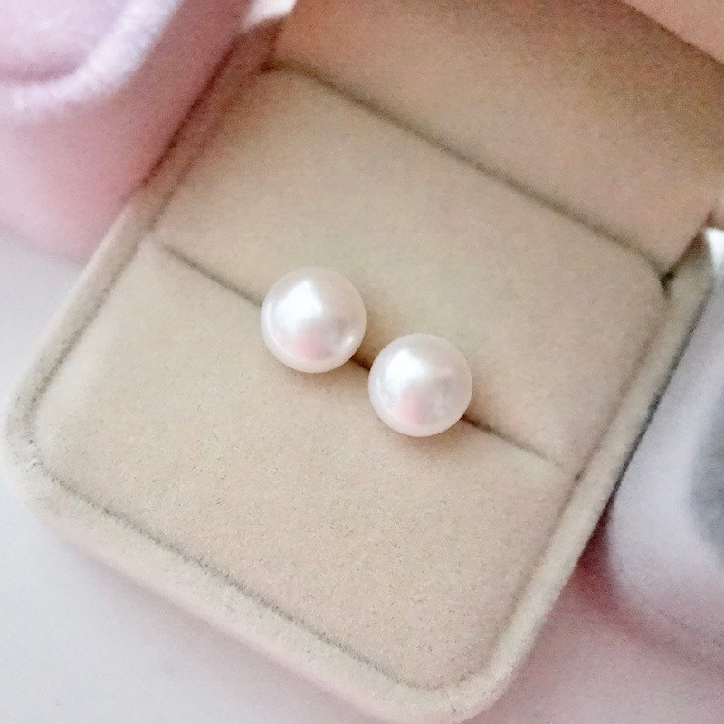 ITS-E203 [Earrings Series·Natural Freshwater Pearl] 8mm Pearl 925 Silver Earrings Earrings