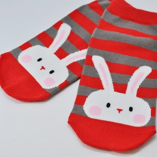 【HABBI TWO】 Taiwan original cotton socks / children socks ★ red-gray striped rabbit