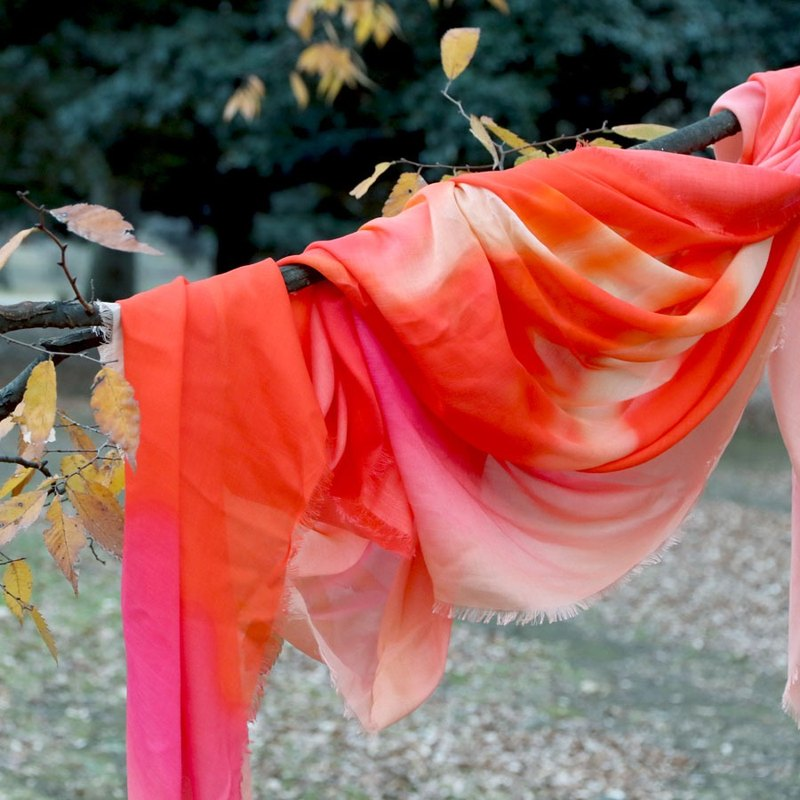 """Bubble Gum Seine"" orange-red pure silk blended large square made in Italy"
