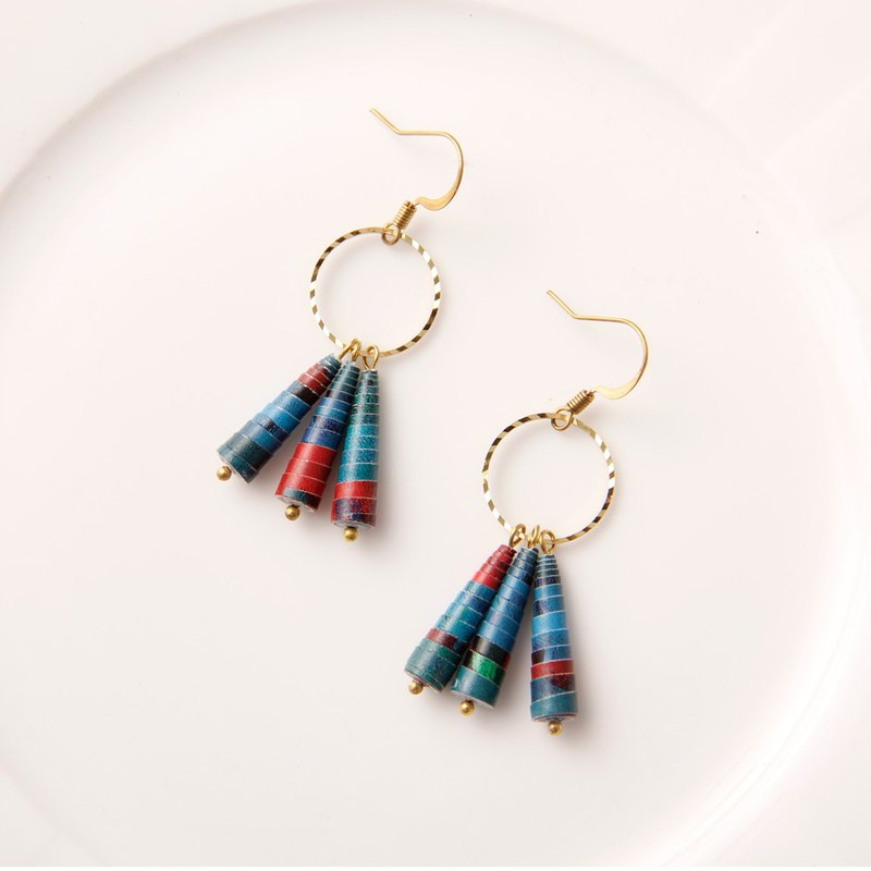 Musev Deep Blue Dangle Circle Drop Earrings