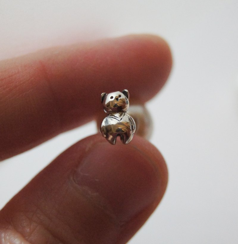 *The Mini Moon Bear * handmade silver earrings with pearl