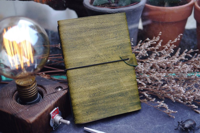 Leather book cover series | leather notebook cover | hand brush color | matcha green |