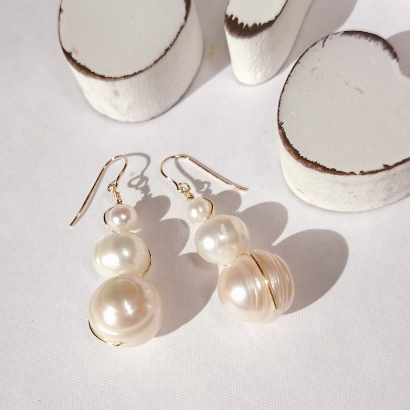 14kgf♡3baroque pearls bubbles pierce/earring
