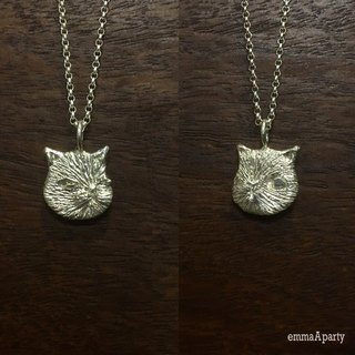 EmmaAparty handmade sterling silver necklace '' double-sided cat ''