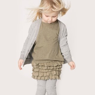 Nordic children's clothing organic cotton lotus leaf skirt olive green