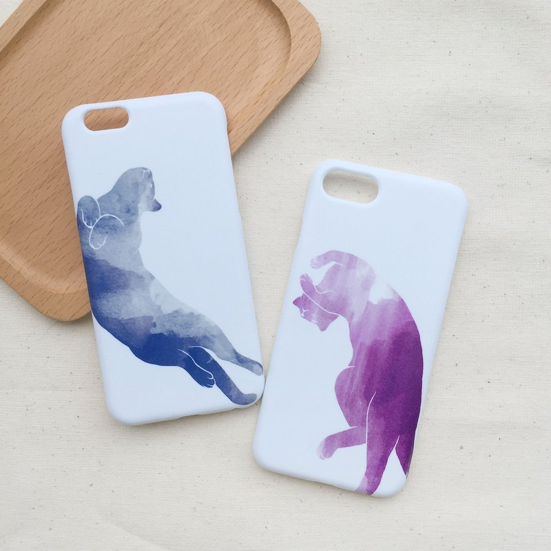 Watercolor Cat Blue / Purple - iphone / Android Phone Case Hard Case
