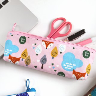 [Forest fox love fox] pencil bag / YKK plastic zipper stationery bag storage bag glasses pencil case portable universal bag