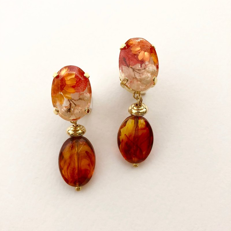 Botanical jewelry parts and big tortoise pierced earrings*Orange*PCM0011