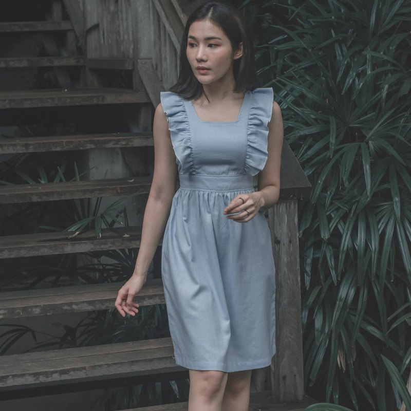 Livada Sweetest Sleeveless Light Blue Linen Dress