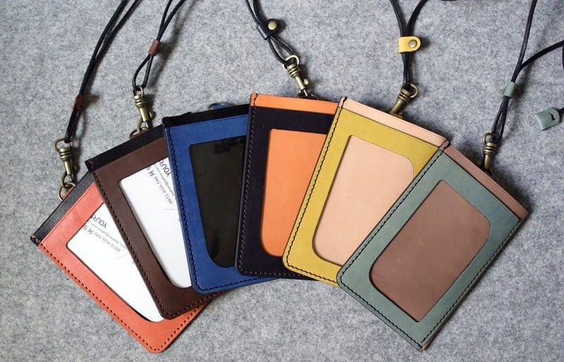 YOURS handmade leather three pocket light bulk documents folder / purse multicolor / can be optional with leather