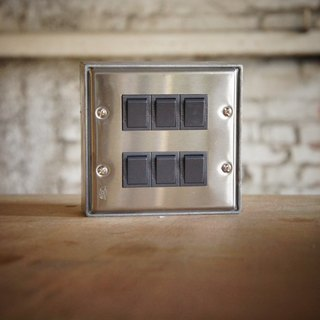 Six open / stainless steel series / switch / three way switch / black gray (without metal box)