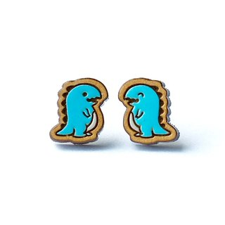 Painted  wood earrings-Tyrannosaurus rex (blue)