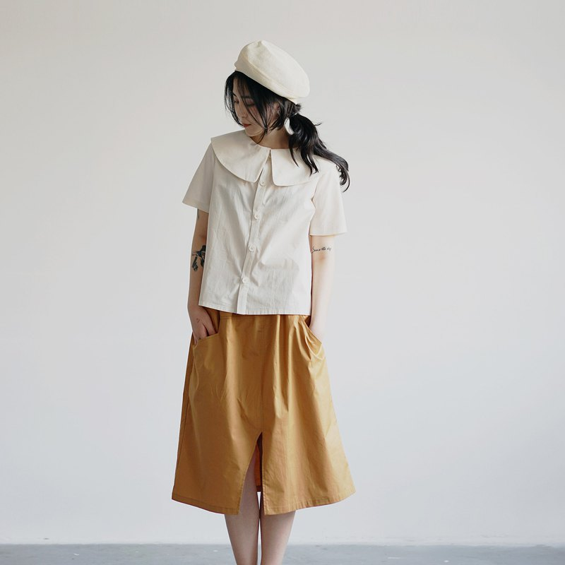 Cloak neck cotton shirt - white