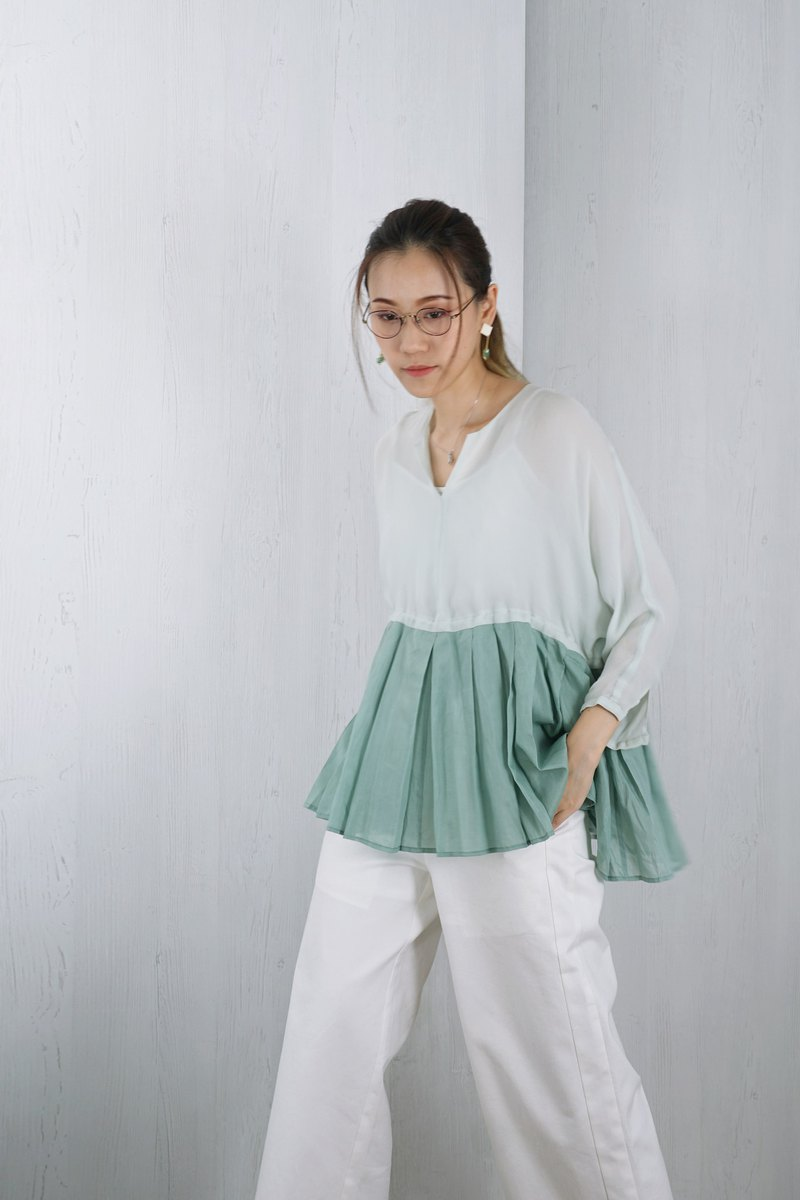 OUD Original. Silk-cotton Pleat-Paneled Celadon Green Top.
