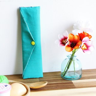 Wen Qingfeng green chopsticks bag lake green heat and warm flowers storage bag hand made cutlery bag Japan cotton linen picnic storage
