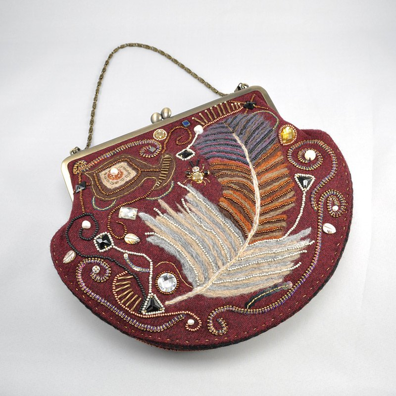 Feather pattern frame purse , gorgeous party bag, one of a kind, woman bag,
