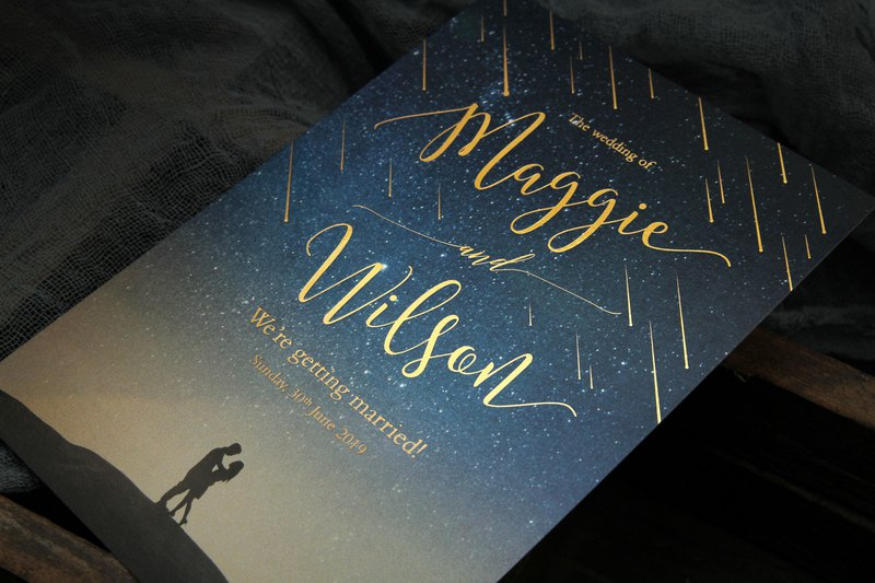 Unique wedding invitation starry meteor shower invitation design PP original dark blue