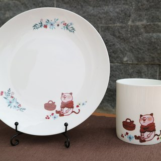 Christmas Gift / Picnic Cat Cup Set