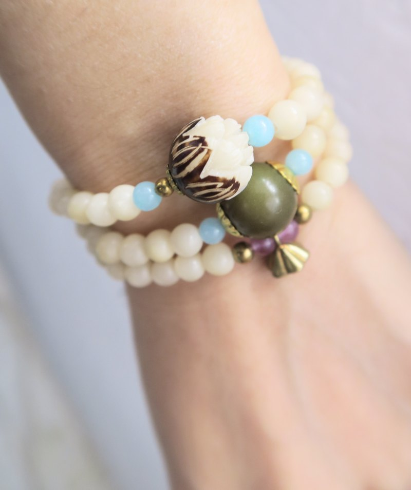 Lincoln / Lincolium / Amethyst / Green Fluorite / Natural Stone • 3 laps bracelet + necklace (one-piece style) gift