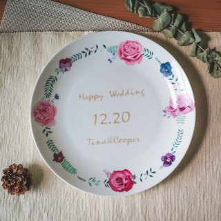 8 Skull Porcelain Plate - Declaration of Love Rose Wreath Memorial Plate / Birthday Gift / Wedding Gift / Thanks Gift / Valentine's Day Gift / Customizable Name / Microwave / by SGS