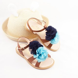 Hawaiian Flower Leather Sandals - Caramel Coffee