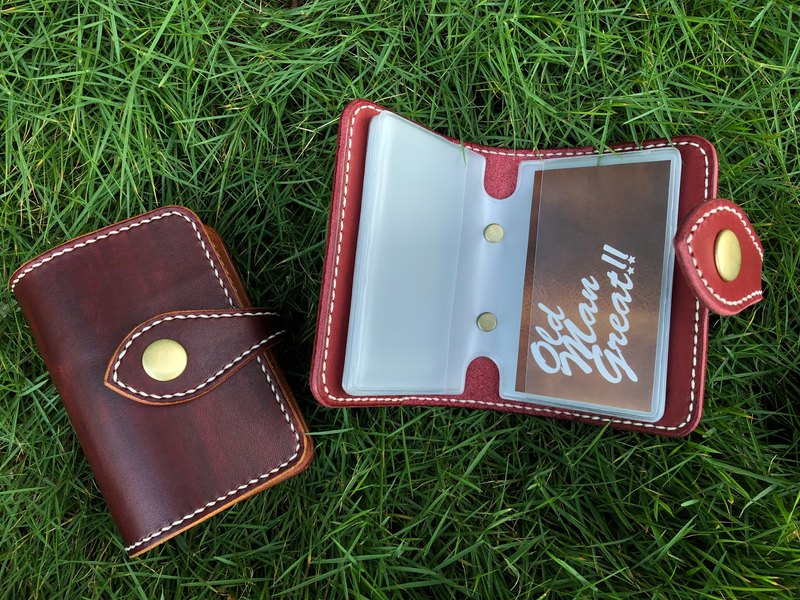 Buckle card with vegetable tanned leather