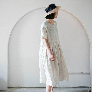 Preference | Ma Ben color natural rain dew linen summer loose short-sleeved pleated dress blue dyed dress