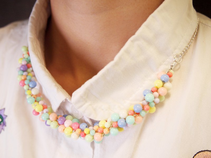 Cute colorful hand-knitted summer necklace