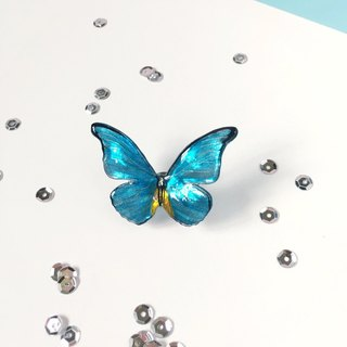 * Haku‧Neko * Hand painted black pattern ice blue yellow butterfly brooch