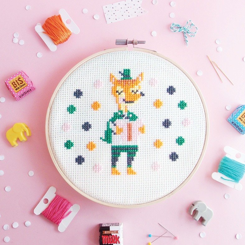 Funny Cross Stitch KIT - Fox Love Reading