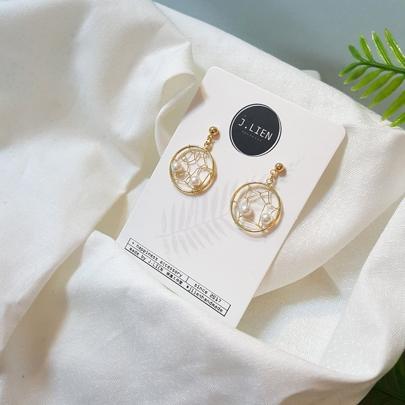 Golden silk dream catcher pearl ear pin / ear clip handmade earrings Korea direct