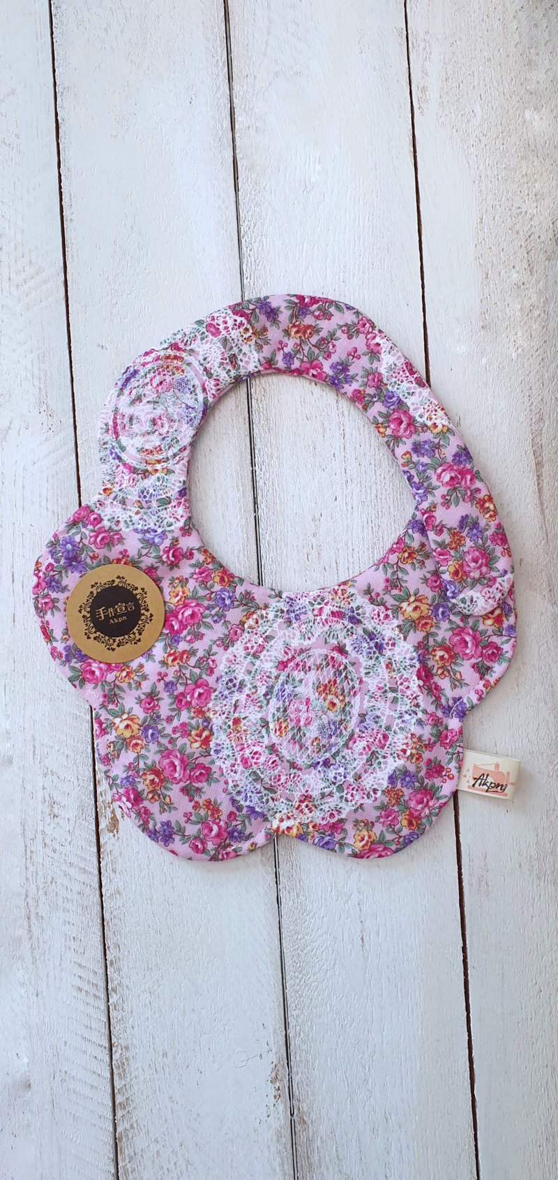 Burning Flower Secret Garden - Pink - Eight Layers of 100% cotton casual arc shape bib. Saliva towel