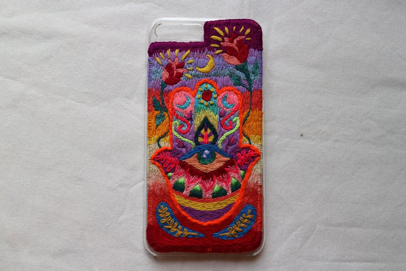 Colourful of Hamsa ,embroidery art,hand embroidery,Phone cases